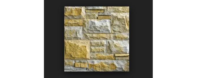 Фото облицовки из плитки псковского известняка с околом песочного и желтого цвета